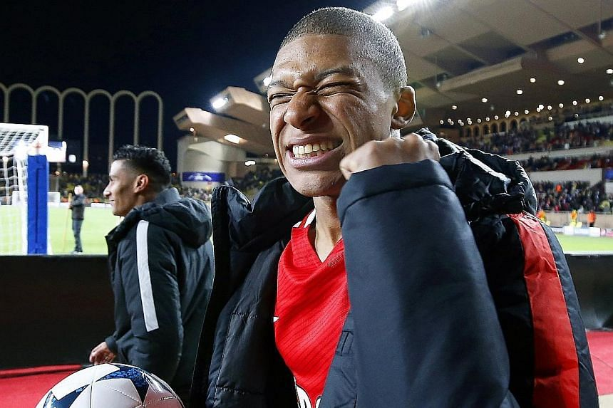 Monaco's Kylian Mbappe, 18, celebrates after his side's 3-1 Champions League victory against Borussia Dortmund on April 19. The teenager is a star performer in Europe's most potent attacking side.