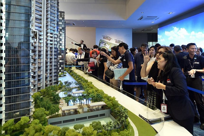 The Seaside Residences showroom last Saturday. The project, which boasts sea views, has sold 70 per cent of 560 released units.