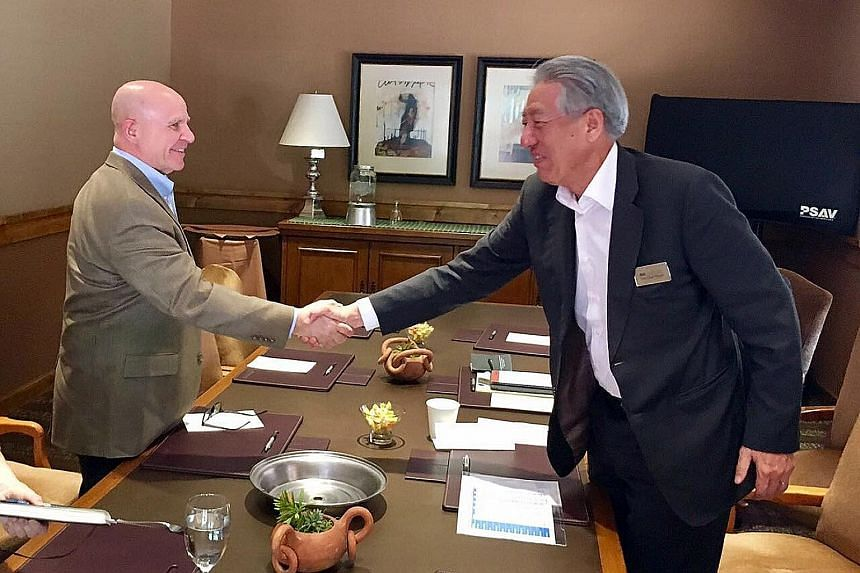 Singapore Deputy Prime Minister Teo Chee Hean and United States National Security Adviser H. R. McMaster, on the sidelines of the Sedona Forum hosted by the McCain Institute in Sedona, Arizona, last Saturday. The forum, which began last Friday and en