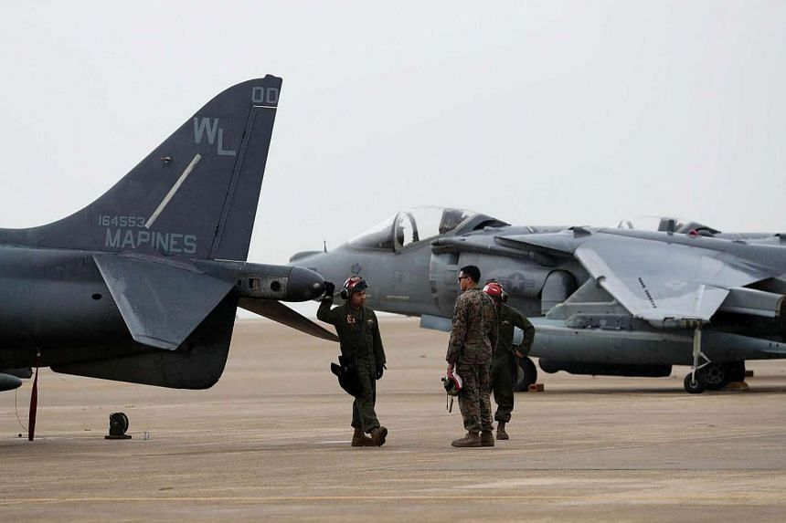US Air Force soldiers during a bilateral training exercise between the South Korean and US Air Force, at a US air base in Gunsan, South Korea, on Thursday (April 20).