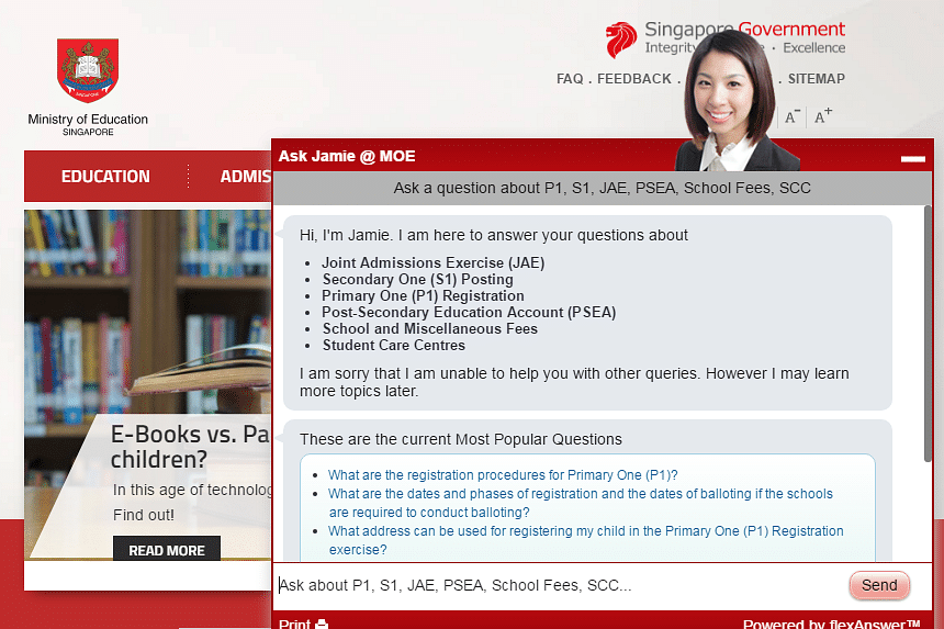 Ask Jamie, which was developed jointly by the Infocomm Development Authority and the Ministry of Finance, is found on government websites such as those of the Ministry of Education and the Singapore Land Authority.
