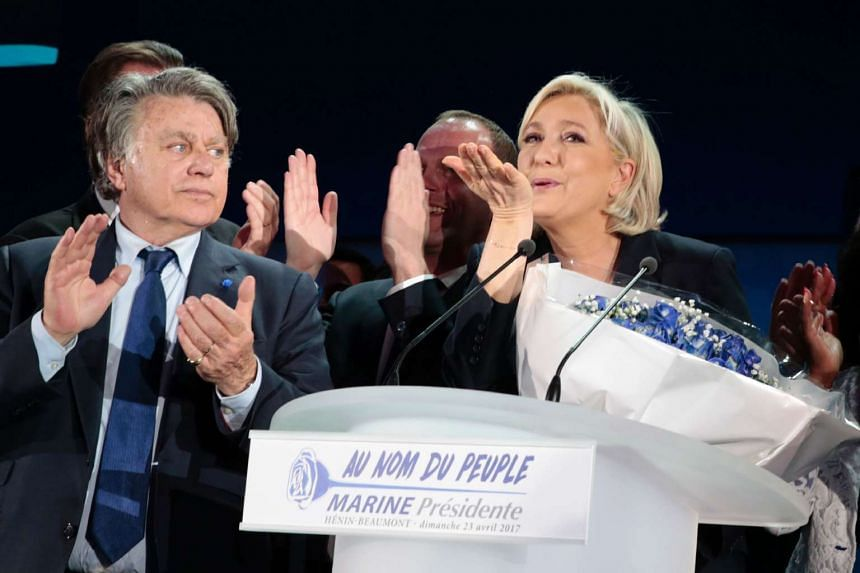 French presidential election candidate for the far-right Front National (FN) party Marine Le Pen delivers a speech in Henin-Beaumont, on April 23, 2017, after the first round of the Presidential election.
