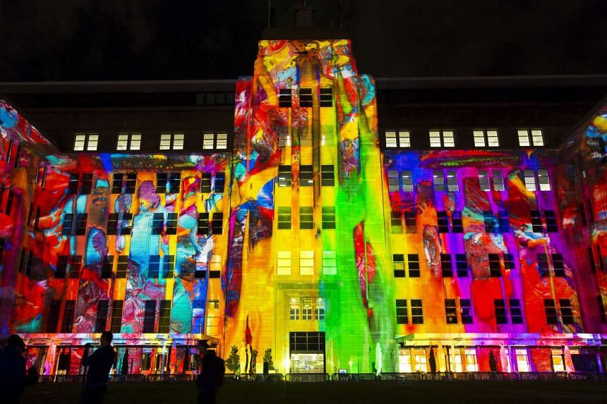 A handout photo of an art installation projected onto the Museum of Contemporary Art during Vivid, an art festival in Sydney.