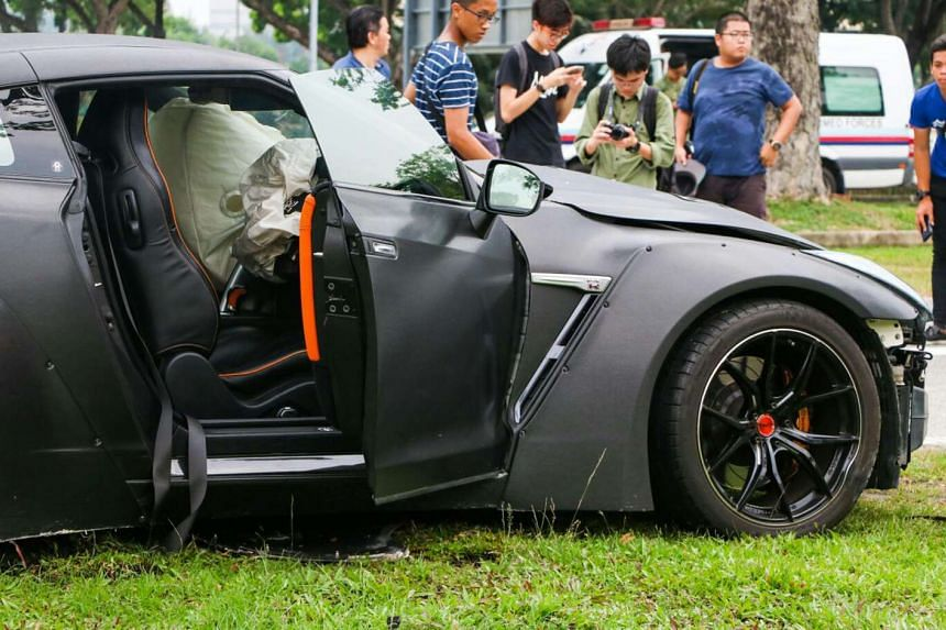 The scene of the accident involving a Nissan GTR and a Toyota at the Kallang Leisure Park Mall carpark on Aug 27, 2016.