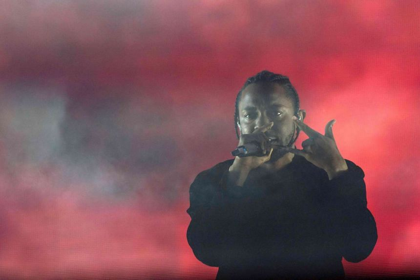 US hip hop singer Kendrick Lamar performs in Coachella Valley Music And Arts Festival on April 16, 2017, in Indio, California.
