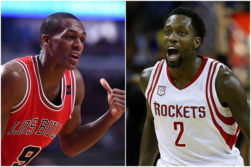 Chicago Bulls guard Rajon Rondo (left) and Houston Rockets guard Patrick Beverley (right).