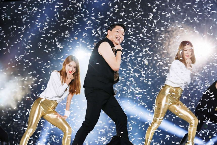 Singer Psy performing at the opening concert of the inaugural Busan One Asia Festival held at the Busan Asiad Main Stadium on Oct 1, 2016.