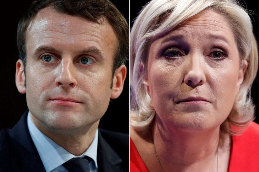 Emmanuel Macron (left) and Marine Le Pen came up tops in round one of French elections on April 23, 2017.