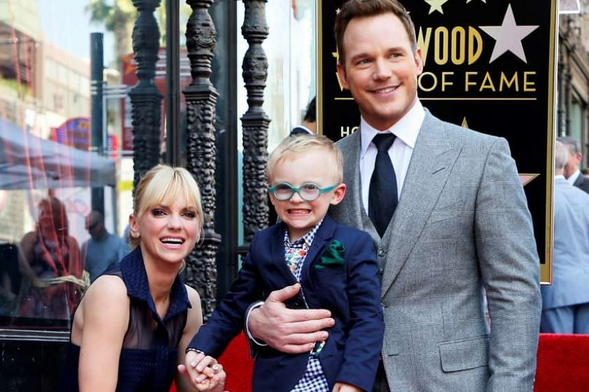 Chris Pratt with his wife Anna Faris and their son Jack at the Hollywood Walk of Fame in California.