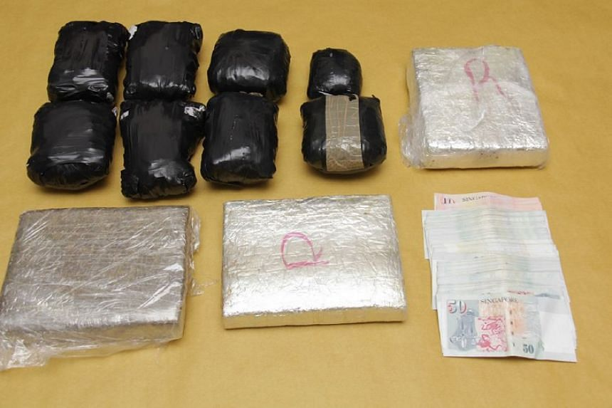 Drugs seized by Central Narcotics Bureau (CNB) officers on Sept 15, 2016.