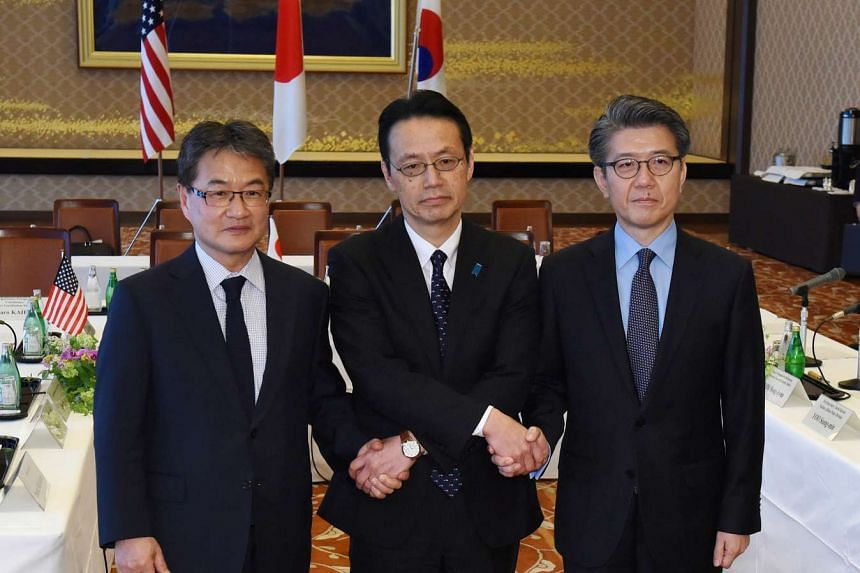 US Special Representative for North Korea Policy Joseph Yun (left), Japanese Ministry of Foreign Affairs Director General for Asian and Oceanian Affairs Kenji Kanasugi (centre) and South Korean Special Representative for Korean Peninsula Peace and Se