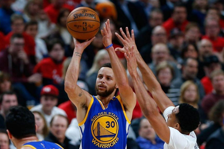 Stephen Curry of the Golden State Warriors shoots the ball against the Portland Trail Blazers during Game Four of the Western Conference Quarterfinals of the 2017 NBA Playoffs at Moda Center on April 24, 2017 in Portland, Oregon.