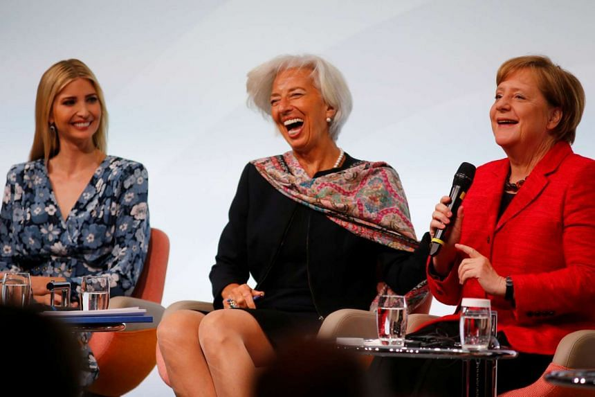 US President's daughter Ivanka Trump, International Monetary Fund's managing director Christine Lagarde and German Chancellor Angela Merkel attend the W20 Summit in Berlin, Germany, on April 25, 2017.