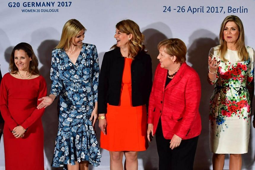 (From left) Canada's Minister of Foreign Affairs Chrystia Freeland, First Daughter and Advisor to the US President Ivanka Trump, co-chairwoman of the W20 Stephanie Bschorr, German Chancellor Angela Merkel and Queen Maxima of the Netherlands pose for