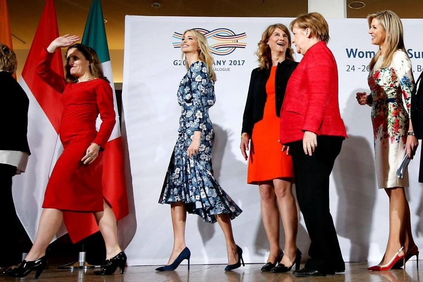 Chrystia Freeland, Minister for Foreign Affairs of Canada, Daughter of U.S. President Ivanka Trump, Stephanie Bschorr, President Association of German Women Entrepreneurs, German Chancellor Angela Merkel and Queen Maxima of the Netherlands, UN Secret