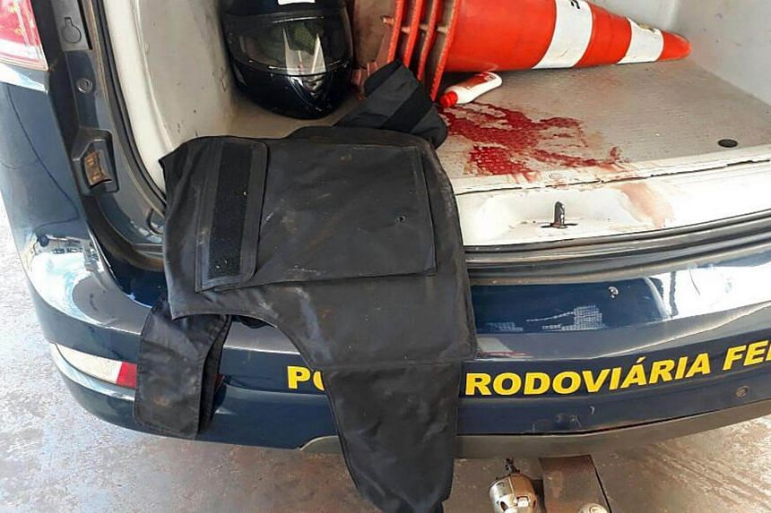 A handout picture provided by the Brazilian Federal Highway Police, shows a bulletproof vest seized in the city of Sao Miguel do Iguacu, Brazil, on April 24, 2017.