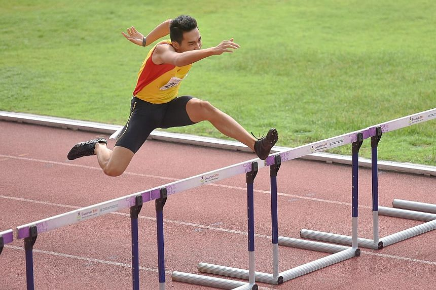 HCI captain Randall Choo, 18, clocked 57.57sec to win the A Division 400m hurdles, ahead of RI's Isaac Toh (58.81sec) and ACJC's Loh Yuan Yee (59.32sec) yesterday. It was one of three golds the school picked up on the penultimate day of the meet.