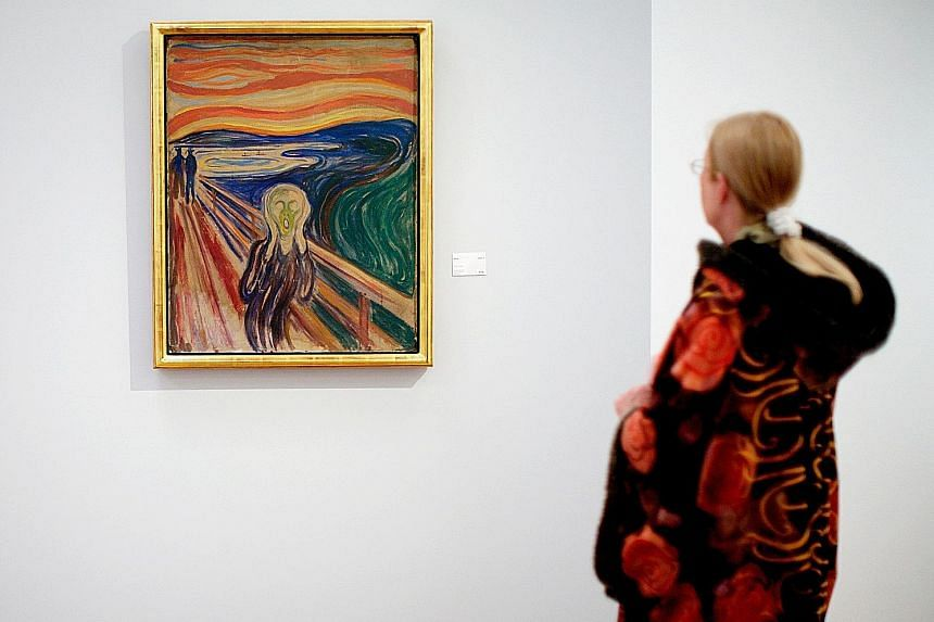 """Edvard Munch's The Scream (top) may have been inspired by """"nacreous"""" or """"mother-of-pearl"""" clouds (above), according to a new paper presented by researchers at a European Geosciences Union meeting."""