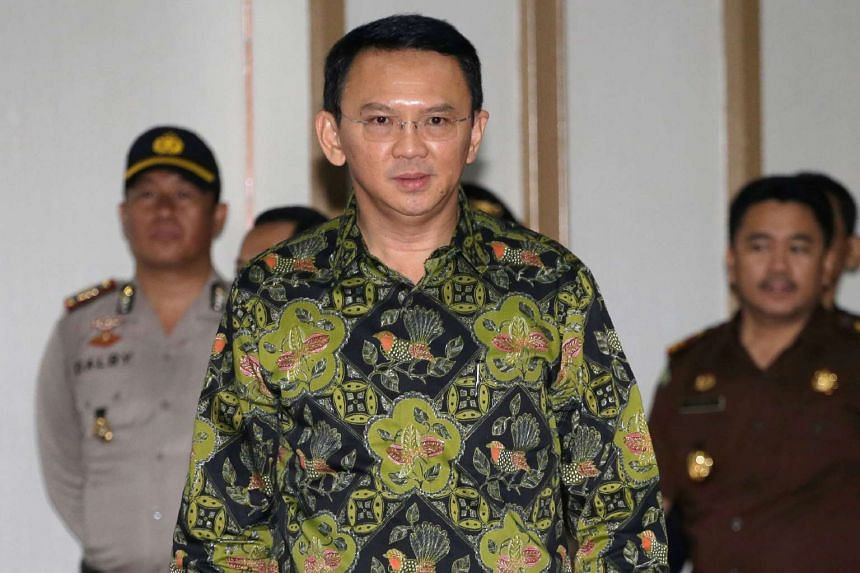 Jakarta's Governor Basuki Tjahaja Purname, also known as Ahok, arriving for his court hearing in Jakarta, on April 20, 2017.
