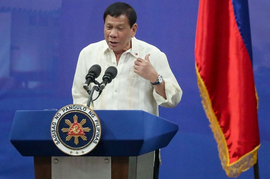 Filipino President Rodrigo Duterte speaking during a meeting with members of the Filipino community at Lusail Sports Arena in Lusail Doha-Qatar, on April 15, 2017.