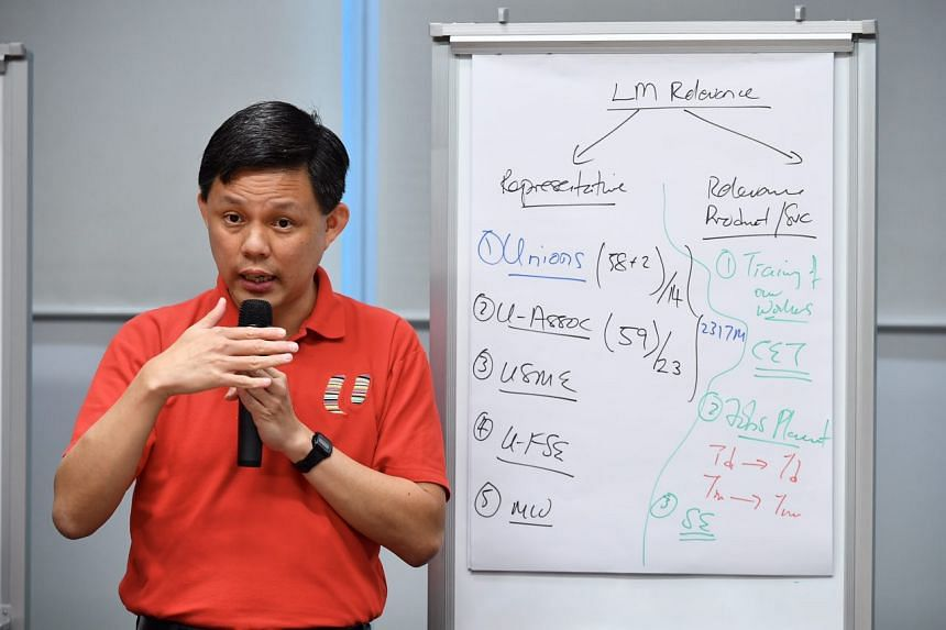 Labour chief Chan Chun Sing speaking at a media briefing on April 25, 2017.