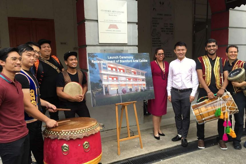 Mr Baey Yam Keng (third from right), Parliamentary Secretary for Culture, Community and Youth, Mr Paul Tan, deputy chief executive of the National Arts Council (NAC) and Ms Sarah Martin, the chief executive of Arts House Limited, pictured with Singap