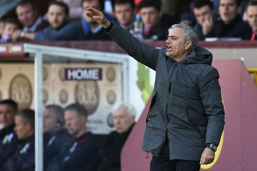 Manchester United's manager Jose Mourinho gestures during the match between Burnley and Manchester United, on April 23, 2017.