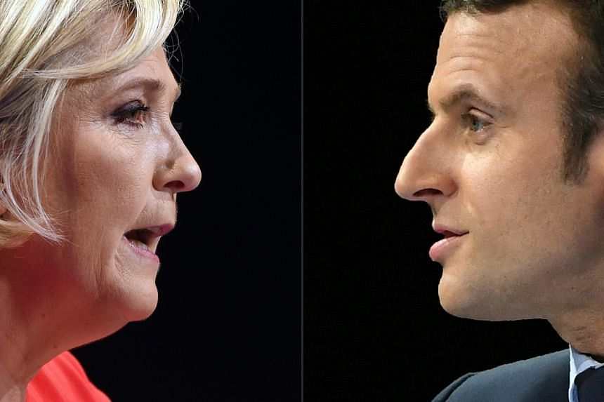 French presidential candidates Marine Le Pen (left)  and Emmanuel Macron (right) will debate face-to-face on May 3.