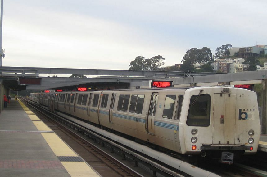 """Exterior of a BART """"C"""" car at Daly City station."""