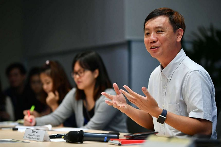 NTUC's e2i CEO Gilbert Tan talking about NTUC's new U Career Network at the NTUC Centre on April 25, 2017.