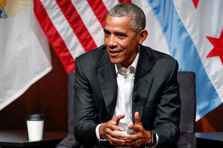 Former US President Barack Obama speaks during a meeting with youth leaders at the Logan Center for the Arts at the University of Chicago to discuss strategies for community organization and civic engagement in Chicago, US, on April 24, 2017.