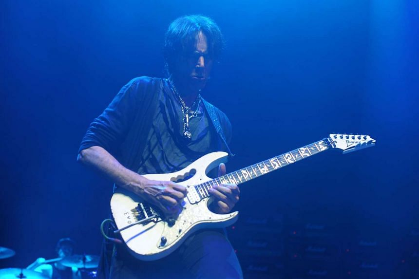 US guitarist Steve Vai playing with Generation Axe – A Night of Guitars at Star Hall in Hong Kong on April 12, 2017.