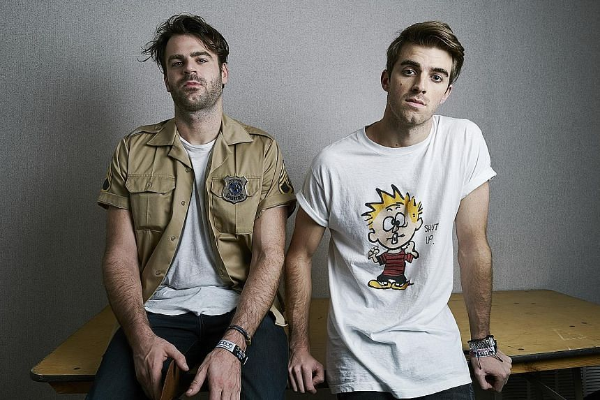 Electronic dance music duo The Chainsmokers, comprising Alex Pall (far left) and Andrew Taggart, and pop act Ariana Grande will make their Singapore debut.