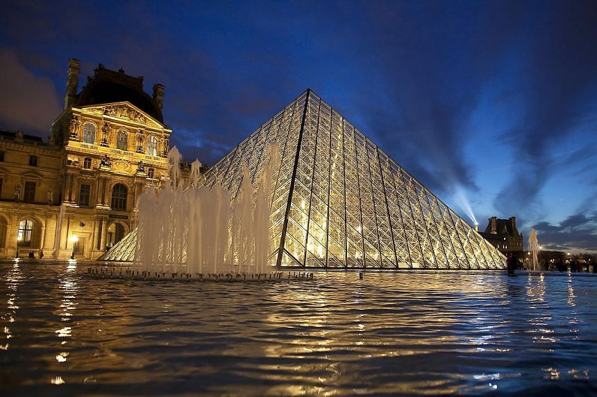 Designs by I.M. Pei: Glass pyramid at the Louvre Museum in Paris (above); Rock and Roll Hall of Fame in the United States; The Gateway in Singapore; Bank of China building in Hong Kong; and Miho Museum in Japan.