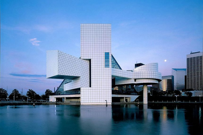 Designs by I.M. Pei: Glass pyramid at the Louvre Museum in Paris ; Rock and Roll Hall of Fame in the United States (above); The Gateway in Singapore; Bank of China building in Hong Kong; and Miho Museum in Japan.