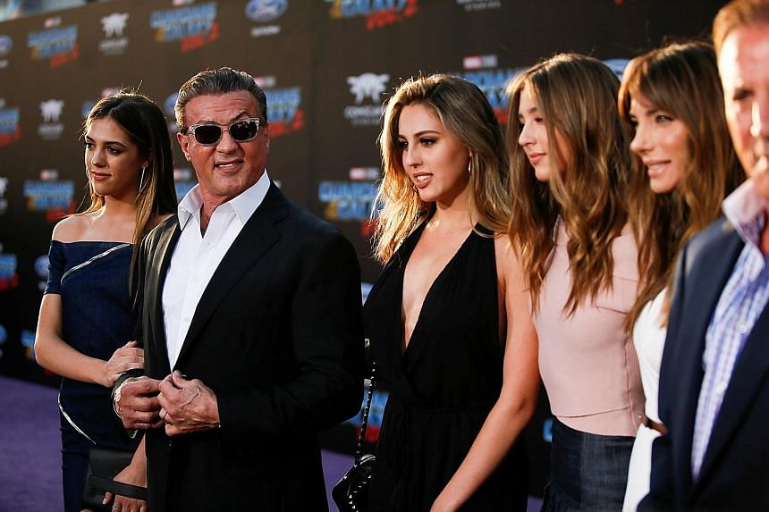 Sylvester Stallone with (above, from left) his daughters Sistine, Sophia and Scarlet and wife Jennifer Flavin at the premiere of Guardians Of The Galaxy Vol. 2 in Hollywood last week. Kurt Russell also stars in the sequel.