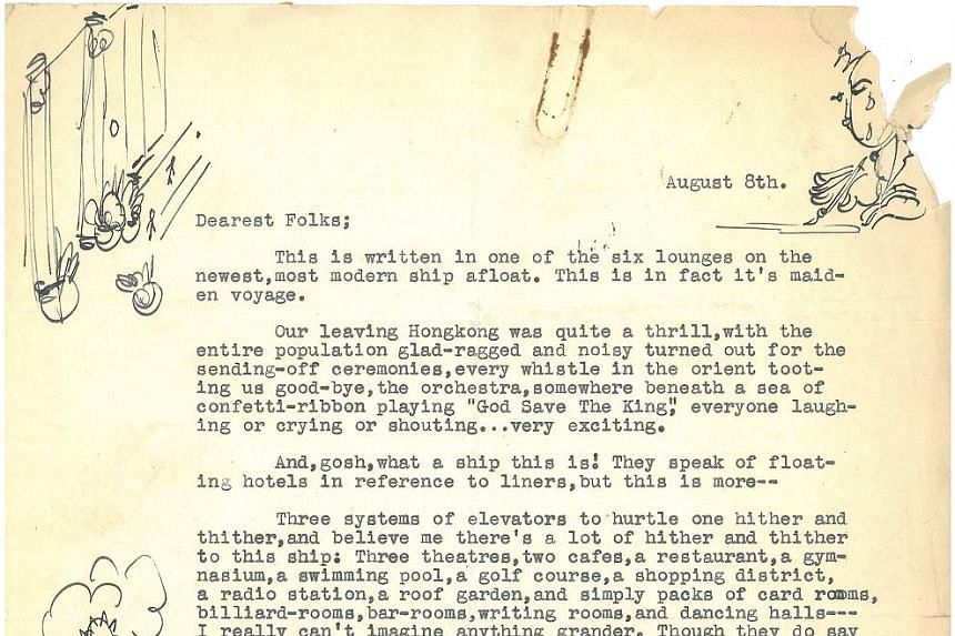 A handout photo of a letter dated Aug 8, 1930, shows sketches from a teenage Orson Welles.