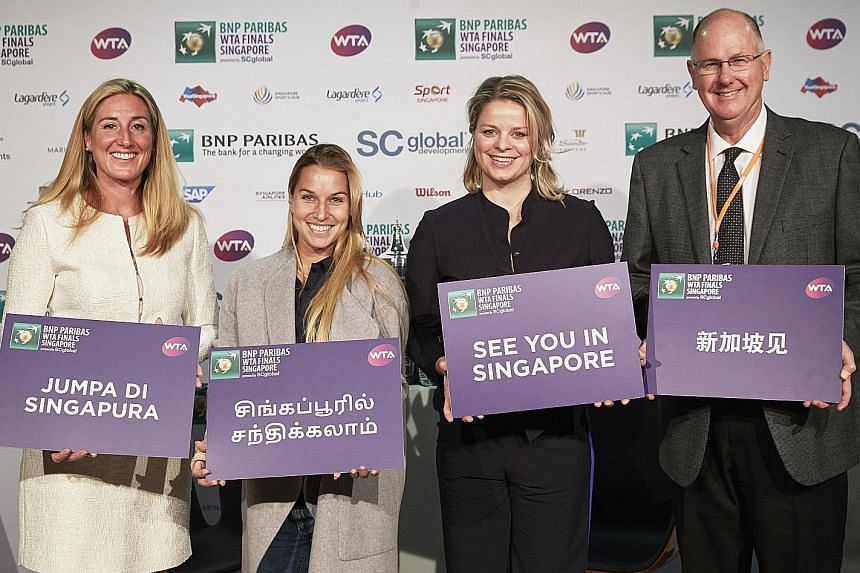 (From left) Melissa Pyne, tournament director of the BNP Paribas WTA Finals Singapore, last year's winner Dominika Cibulkova, former world No. 1 Kim Clijsters and Steve Simon, chief executive officer of the WTA at yesterday's launch.