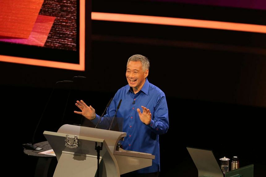 Prime Minister Lee Hsien Loong delivering his speech at the National Day Rally 2016, at the Institute of Technical Education College Central campus in Ang Mo Kio on Aug 21, 2016.
