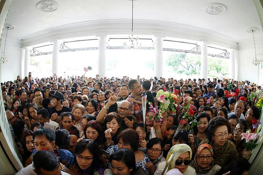 Supporters of outgoing Jakarta governor Basuki Tjahaja Purnama at Indonesia's City Hall on Wednesday (April 26).
