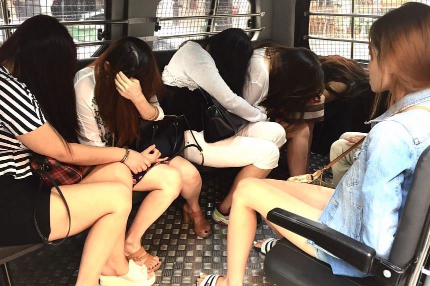 Six women were arrested by police in raids targeting four massage parlours along Rangoon, Balestier and Race Course Roads on April 26, 2017.