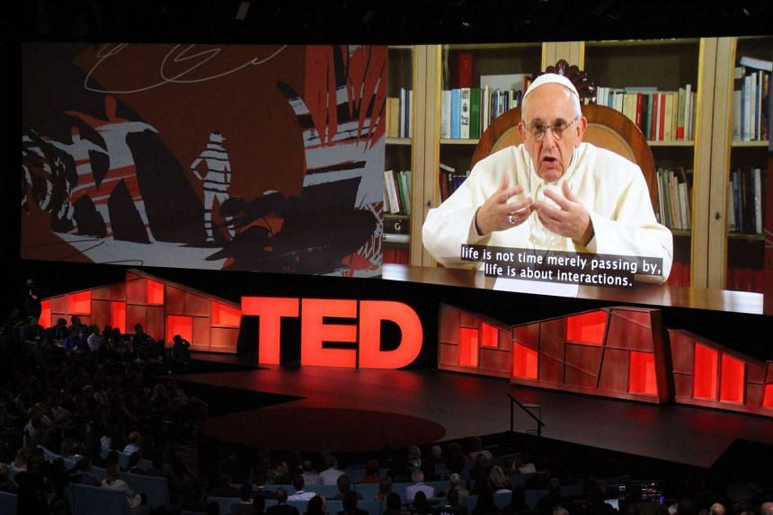 Pope Francis speaking during a TED Conference, urging people to connect with and understand others, in Vancouver, Canada, on April 25, 2017.