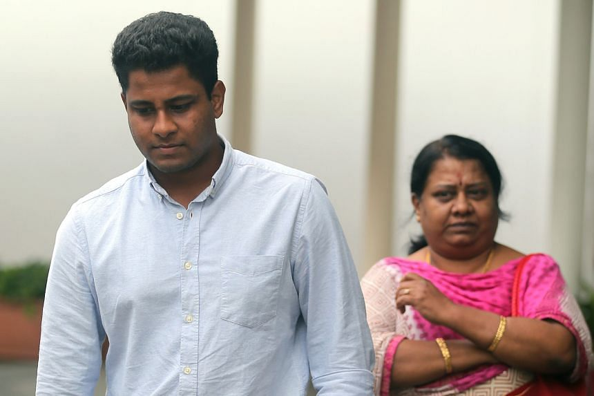Vandana Kumar Chidambaram leaving the State Courts with his mother on Oct 18 last year. He was initially fined $6,000 but now has to serve a seven-week jail sentence.