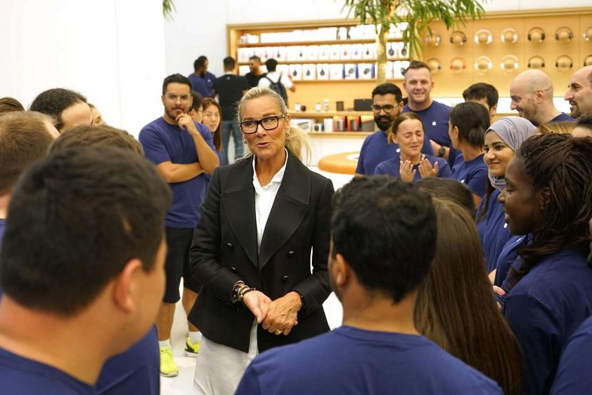 Angela Ahrendts, Apple's senior vice president of retail, talking to the staff of the soon-to-be-opened Apple Store at Dubai Mall.