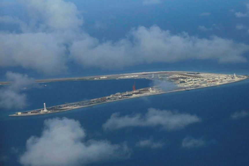 An aerial view of China-occupied Subi Reef at Spratly Islands in the disputed South China Sea.