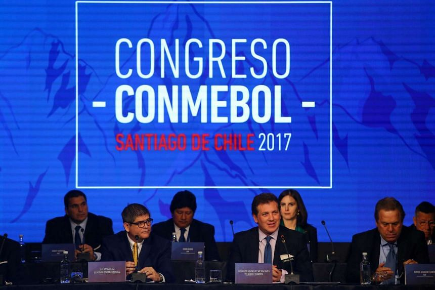 Conmebol president Alejandro Dominguez (front centre) delivers a speech, April 26, 2017.