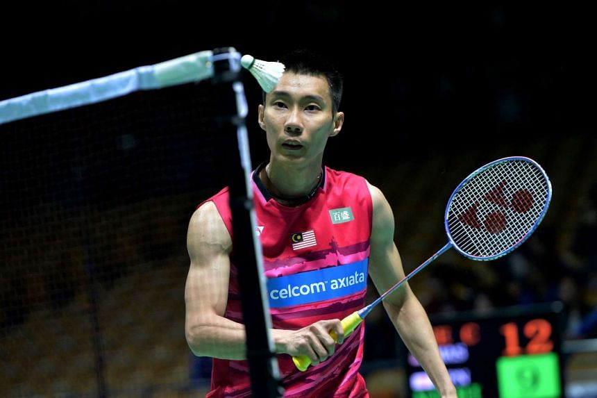Lee Chong Wei of Malaysia eyes a return against Kenta Nishimoto of Japan during their men's singles second round match at the 2017 Badminton Asia Championships in Wuhan, in central China's Hubei province on April 27, 2017.