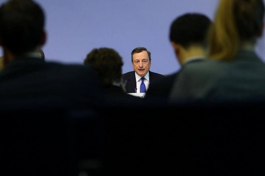 ECB President Mario Draghi may acknowledge the bloc's improved growth prospects at a 1230 GMT news conference.