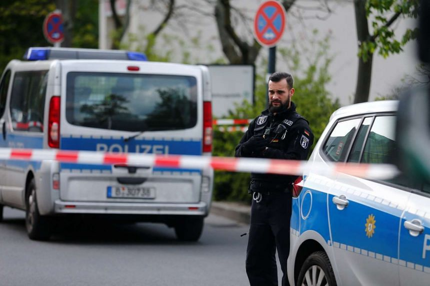 Police secure the area at the Urbankrankenhaus in Berlin, Germany on April 27, 2017 after a shot was fired at the hospital in the Berlin Kreuzberg neighbourhood.