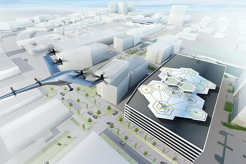 """The Uber plan includes partnerships for """"vertiports"""" for the flyers to take off and land, along with charging stations for the transporters, which are expected to be mainly electric-powered."""